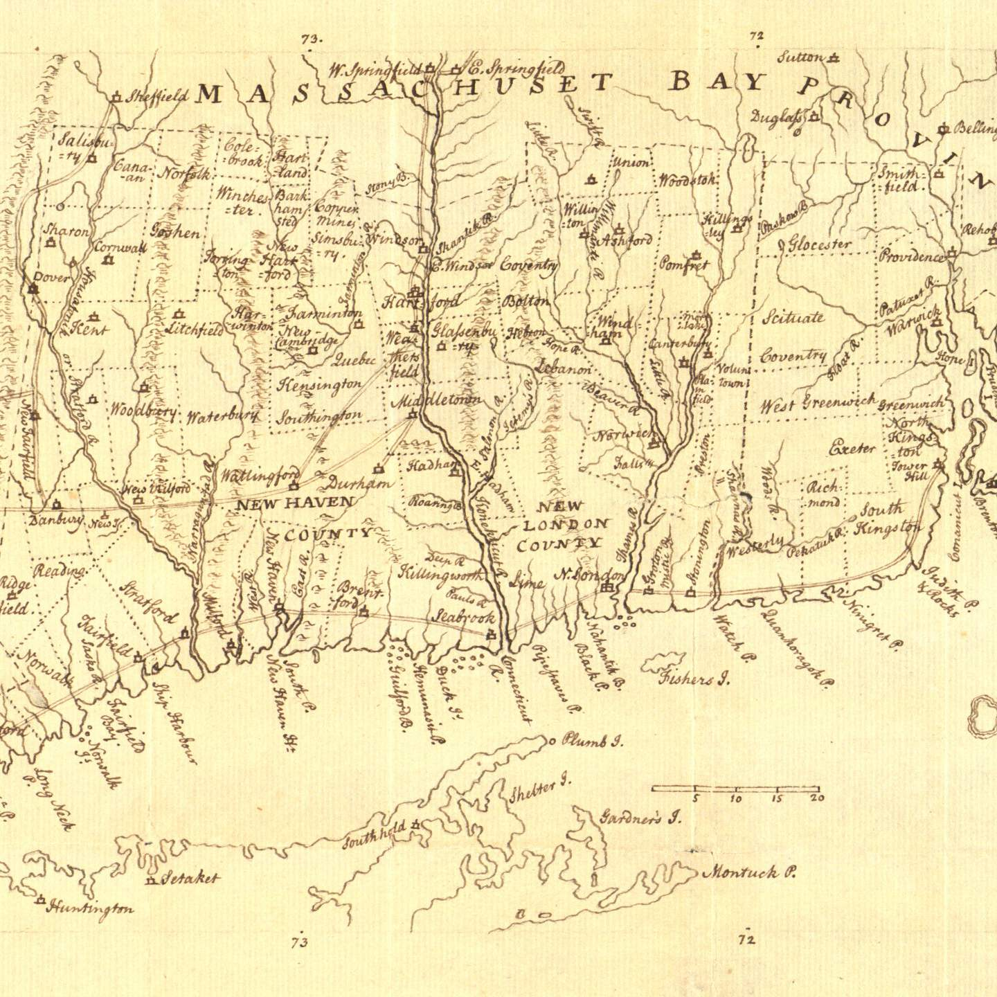 Map of Connecticut and Rhode Island